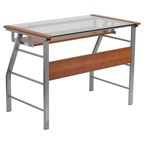 Glass Computer Desk with Pull-Out Keyboard Tray - Flash Furniture - image 1 of 2