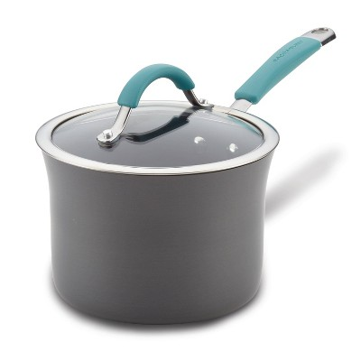 Rachael Ray Cucina 3qt Hard Anodized Nonstick Saucepan with Lid Blue Handles