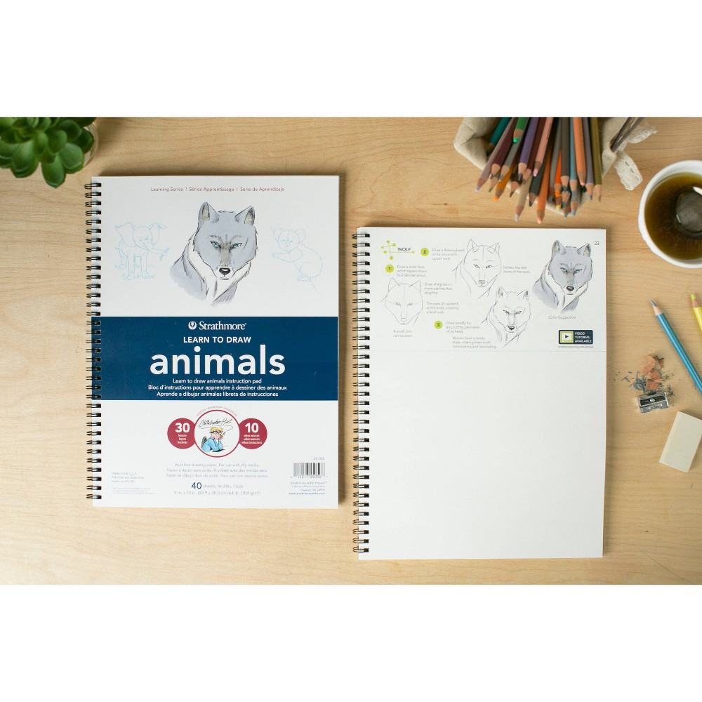 Image of Pacon 40pg Learn to Draw Animals Instruction Pad, White