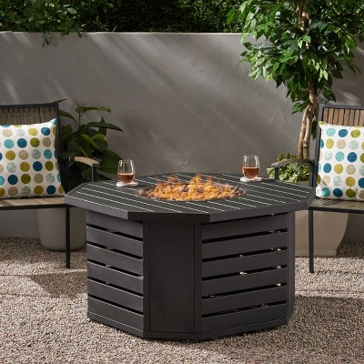 """Rene Octagonal 45"""" Gas Fire Pit - Christopher Knight Home"""
