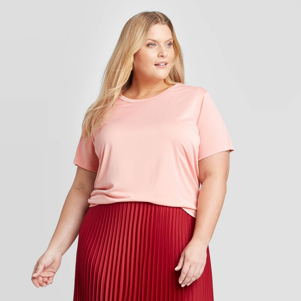 Women 39 S Plus Size Short Sleeve Crewneck Sandwash T Shirt A New Day 8482 Pink 1x