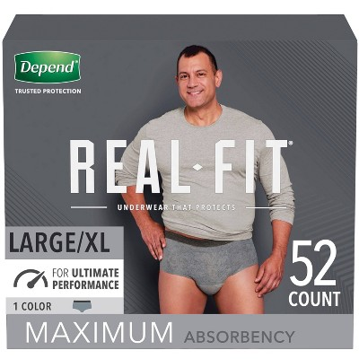 Depend Real Fit Incontinence Underwear for Men, Maximum Absorbency L/XL