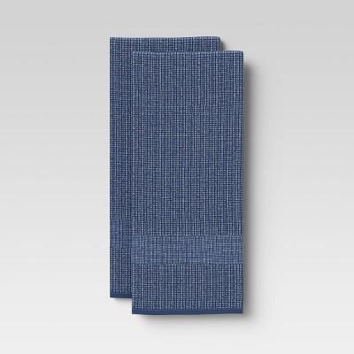 2pk Cotton Waffle Terry Kitchen Towels Dark Blue - Threshold™