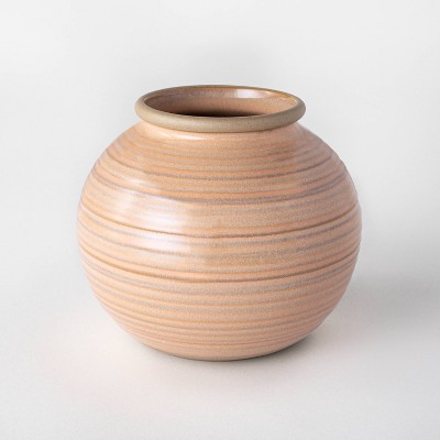 "6"" Ceramic Glazed Ribbed Bud Vase Peach - Threshold™ designed with Studio McGee"
