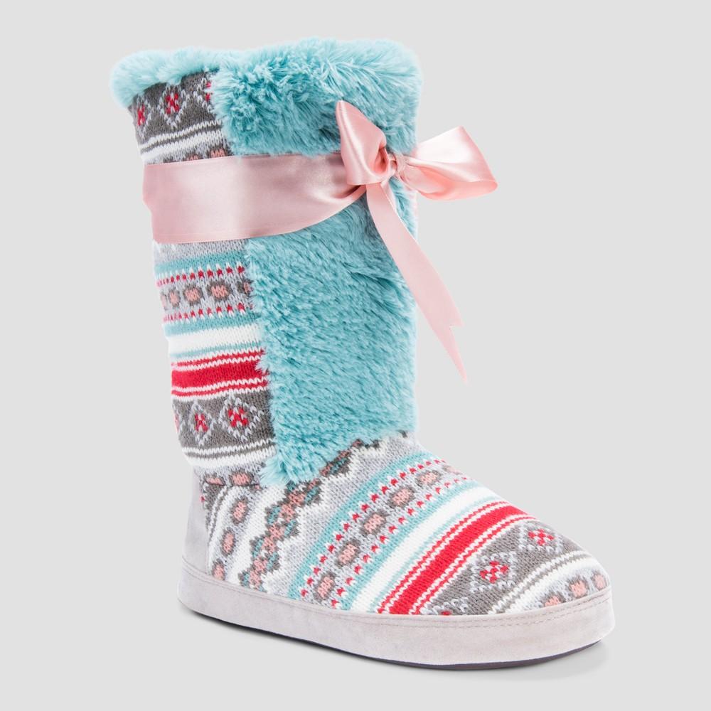 Women's Jewel Muk Luks Bootie Slippers Teal - M (7-8), Blue