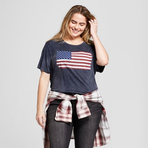5e721113ed5a Women's Plus Size American Flag Mineral Washed Short Sleeve Graphic T-Shirt  - Zoe+Liv Navy Blue 1X