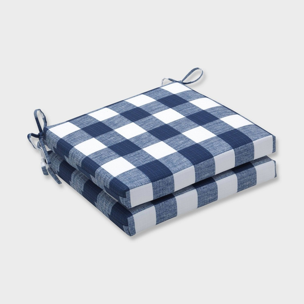 """Image of """"20"""""""" x 20"""""""" x 3"""""""" 2pk Anderson Zaffre Squared Corners Outdoor Seat Cushions Blue - Pillow Perfect, Blue White"""""""