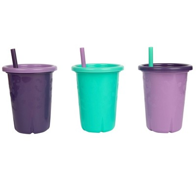 The First Years GreenGrown Reusable Spill-Proof Straw Toddler Cups - Pink - 3pk/10oz