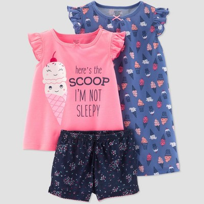 Baby Girls' 3pc Poly Ice Cream Pajama Set - Just One You® made by carter's Purple/Pink/Navy 12M