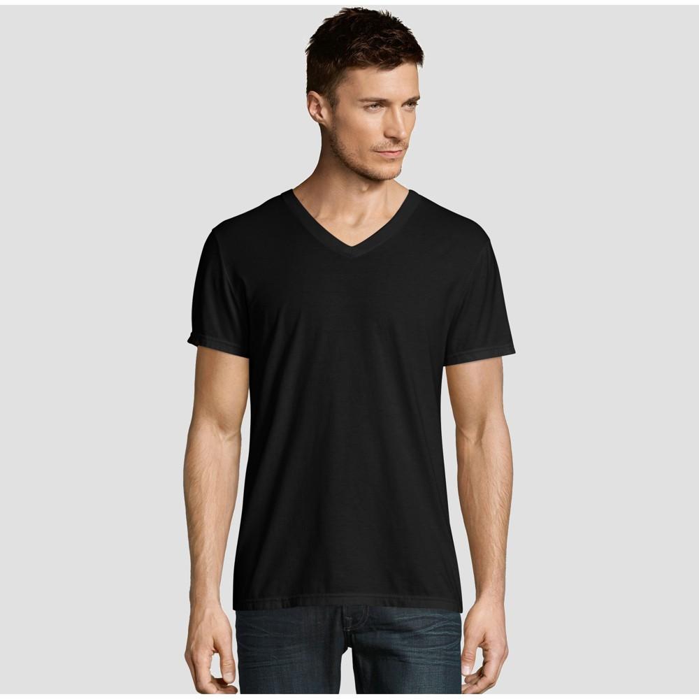 d0c8a5a7a9b1 Hanes Premium Mens Short Sleeve Black Label V Neck T Shirt Black L