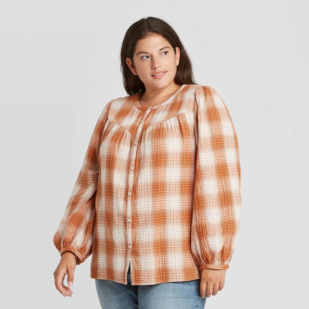 Reviews Women's Plus Size Plaid Puff Long Sleeve Button-Front Blouse - Universal Thread™