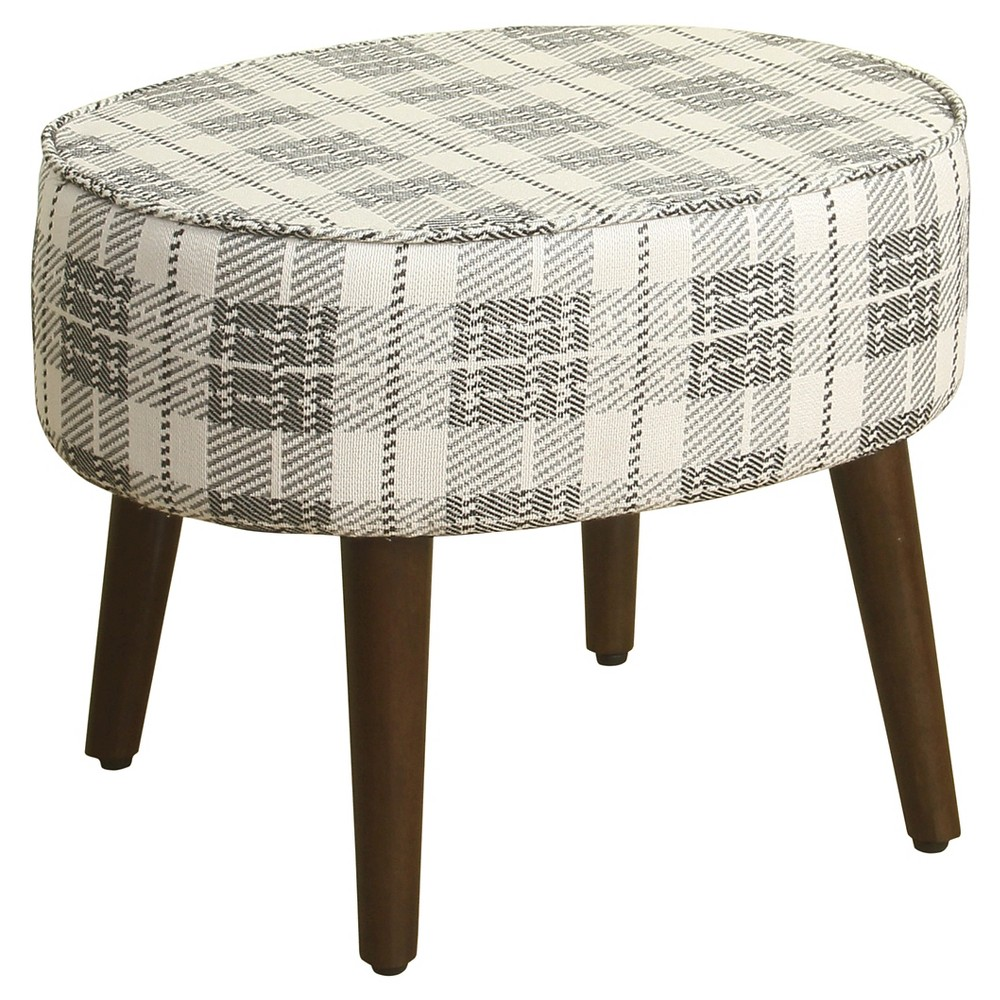 Mid Mod Oval Stool Wood Legs - Plaid - HomePop