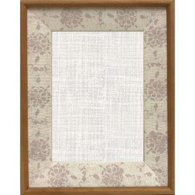 5 X7  Beveled Linen and Wood Frame Neutral - Threshold™