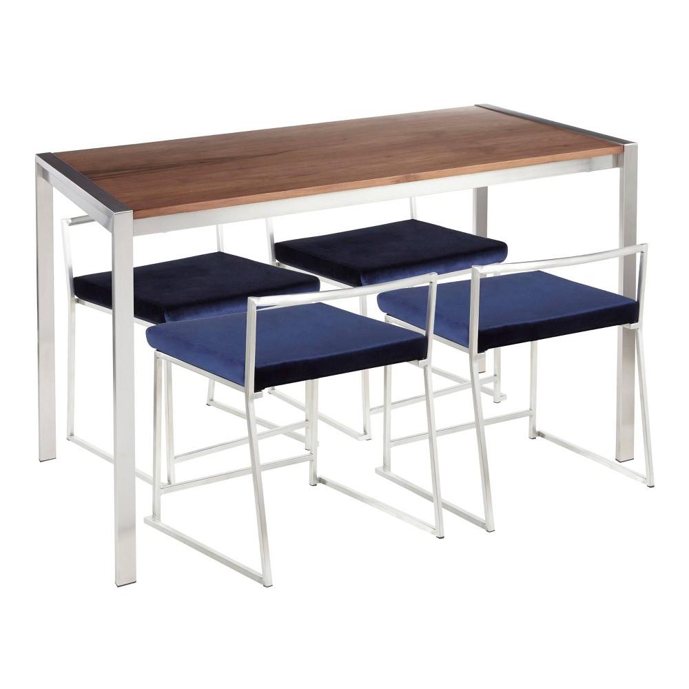 5pc Fuji Contemporary Dining Set Velvet Walnut/Blue - Lumisource