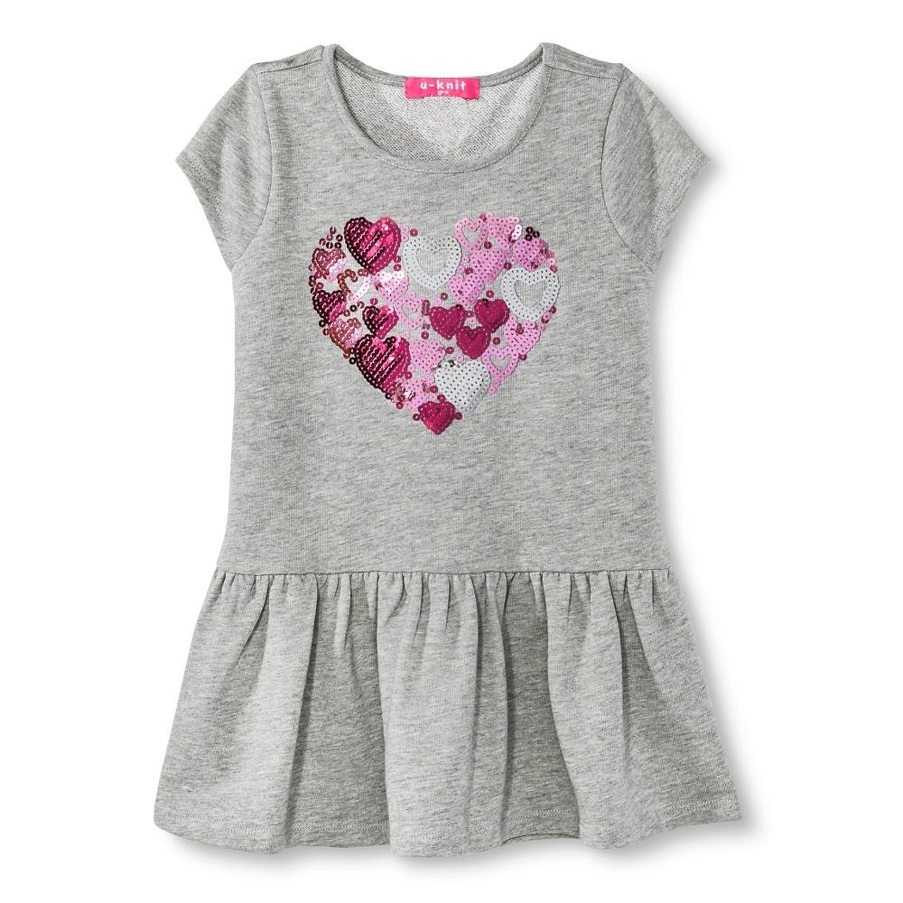 Toddler Girls' U-Knit Heart Dress - Heather Gray 2T