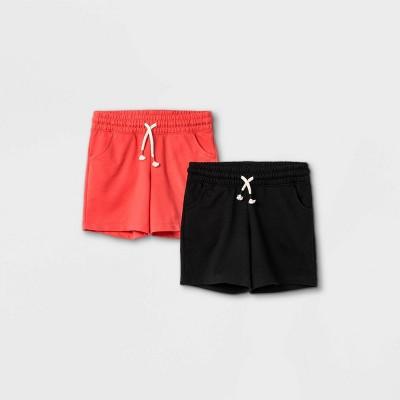 Girls' 2pk Knit Midi Pull-On Shorts - Cat & Jack™ Coral/Black
