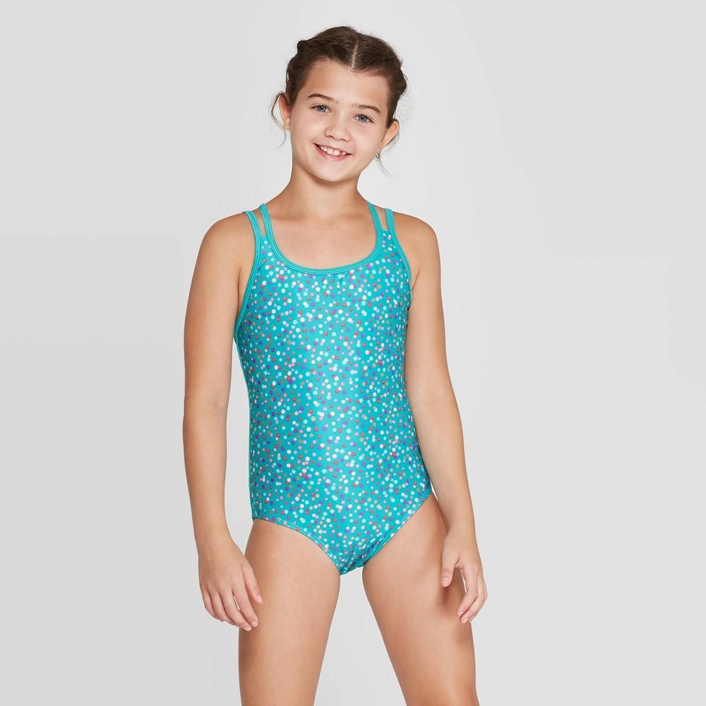 Image of Girls' Fun Fetti One Piece Swimsuit Skirt Set - Cat & Jack Aqua L, Girl's, Size: Large, Blue