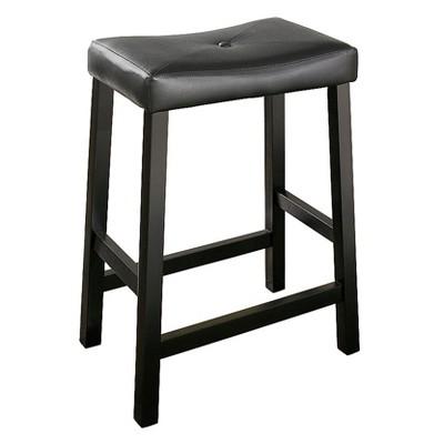 Upholstered Saddle Seat Bar Stool (Set of 2)Black (24 )- Crosley®