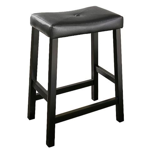 Upholstered Saddle Seat Bar Stool Set Of 2 Black 24 Crosley