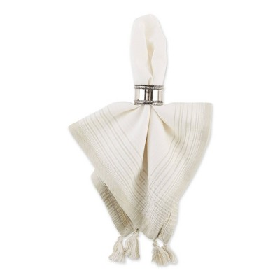 6pk Cotton Striped Napkins with Tassels Natural  - Design Imports