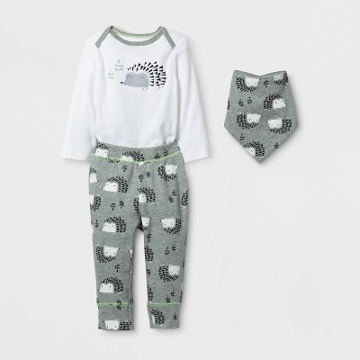 Baby 3pc Hedgehog Bodysuit, Pants and Bib Set Cloud Island™ - Gray/White 3-6M