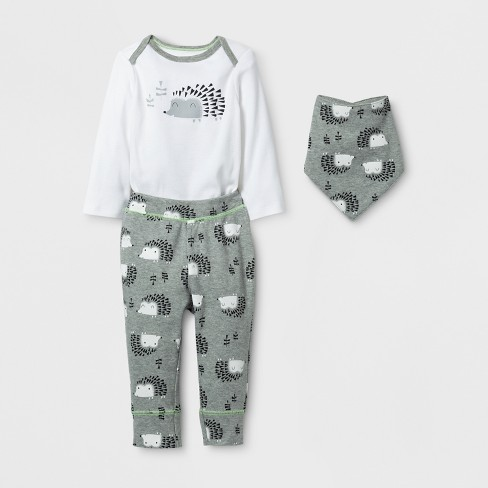 Baby 3pc Hedgehog Bodysuit, Pants and Bib Set - Cloud Island™ Gray/White - image 1 of 2
