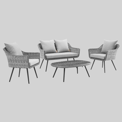 Endeavor 4pc Outdoor Wicker Rattan Patio Sectional Sofa Set Gray - Modway