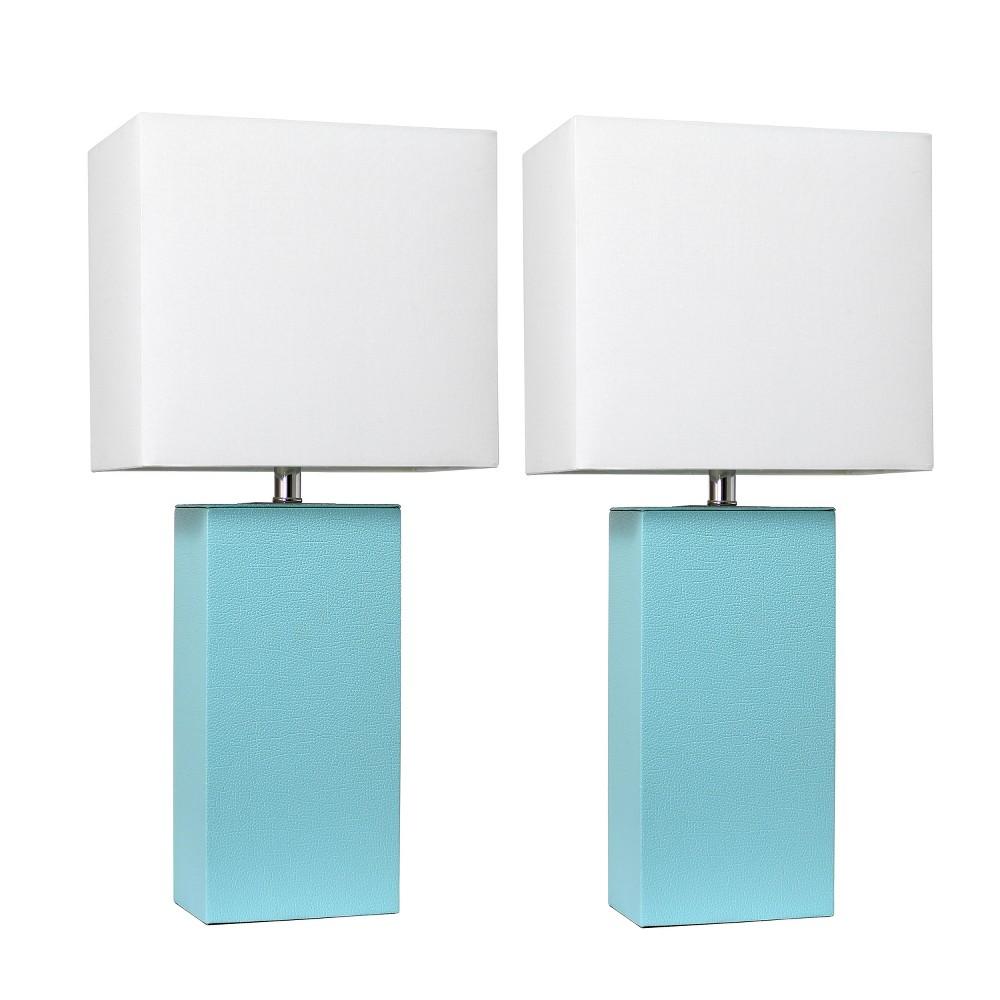 Image of 2pk Modern Leather Table Lamp Aqua - Elegant Designs