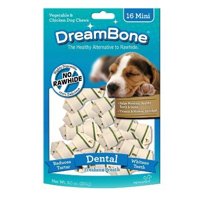 DreamBone Rawhide Free Dog Dental Vegetable and Chicken Mini Bone 16ct