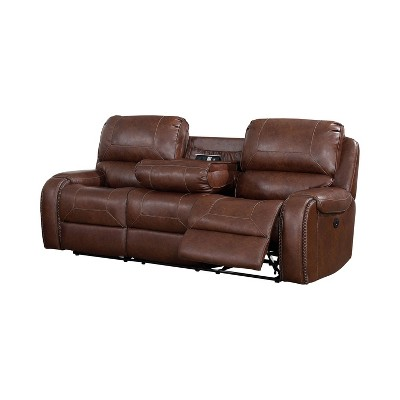 Symons Upholstered Power Recliner Sofa Brown - ioHOMES