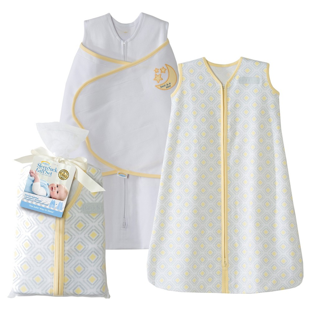 Halo Sleepsack 100% Cotton Two-Piece Gift Set - Yellow Moon and Stars, White