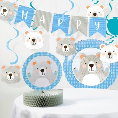 """Happy Birthday"" Bear Print Party Decoration Kit"
