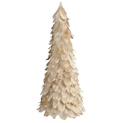 "Northlight 18"" Gold Feather Cone Table Top Christmas Tree with Glitter"