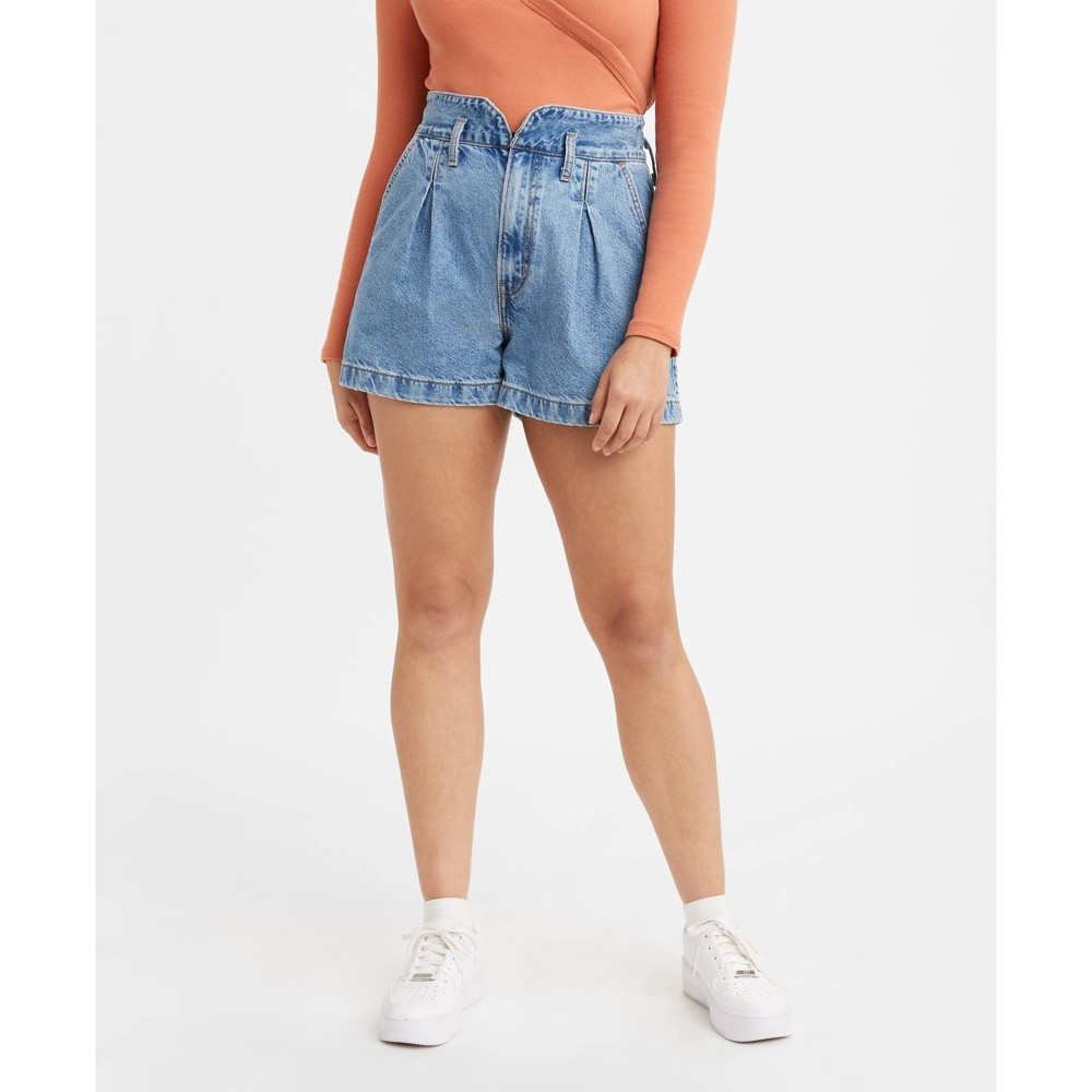 Vintage Shorts, Culottes,  Capris History Levis Womens High-Rise Mom Shorts - Puff Piece 32 Blue $49.99 AT vintagedancer.com
