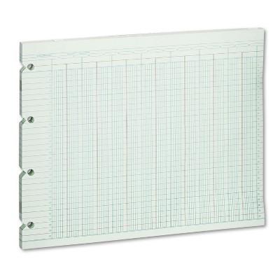 Wilson Jones Accounting Sheets 24 Column 9-1/4 x 11-7/8 100 Loose Sheets/Pack Green G1024