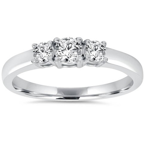 Pompeii3 3/4CT Diamond 3 Stone Engagement Ring 14K White Gold - image 1 of 4