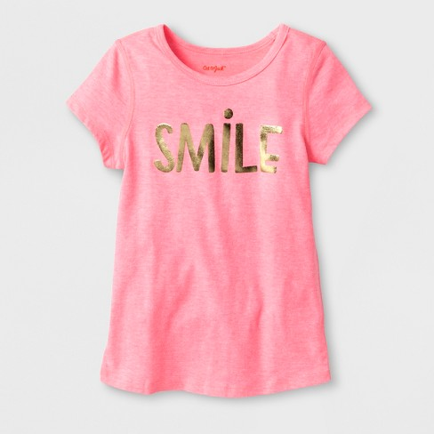 587c15f46 Toddler Girls' Adaptive Short Sleeve Smile Graphic T-Shirt - Cat & Jack™  Coral