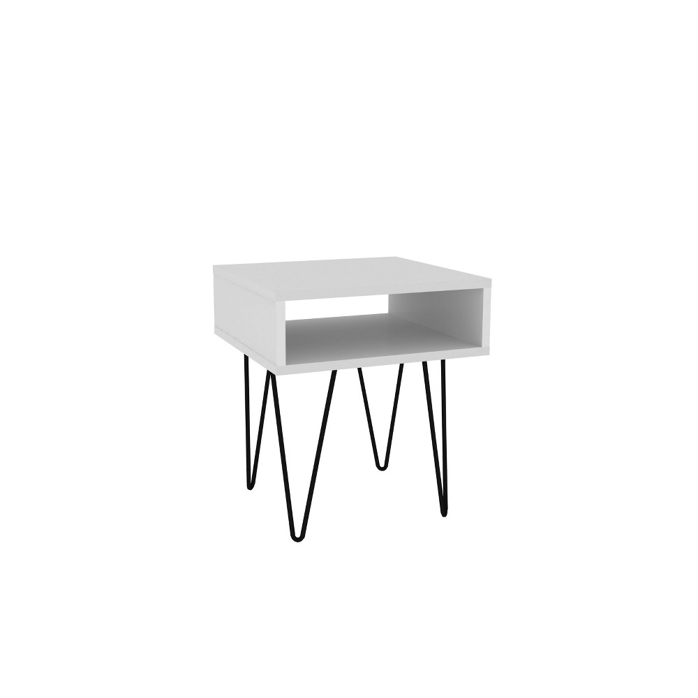 "Image of ""14.96"""" Nolita End Table with 1 Cubby White - Manhattan Comfort"""