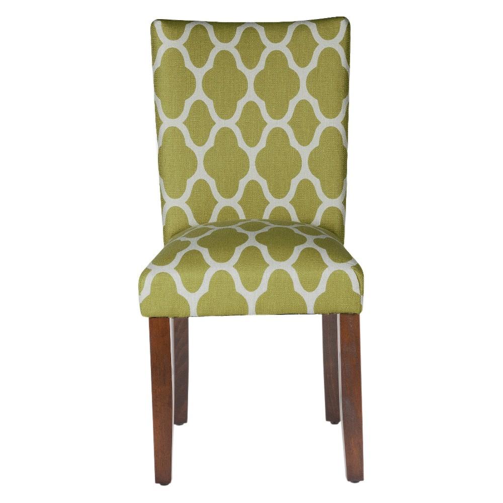 Parson Dining Chair Wood/Green Geo (Set of 2) - HomePop, Green Apple