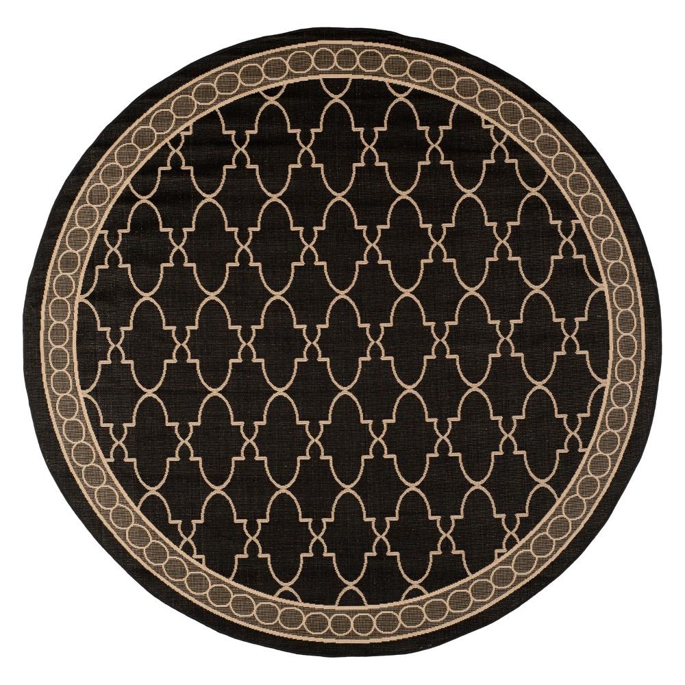 Gibson Round 7'10 Outdoor Rug Black/Beige - Safavieh