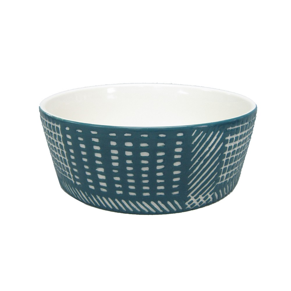 Ceramic Dog Bowl with Carved Pattern - Blue - 4 Cup - Boots & Barkley