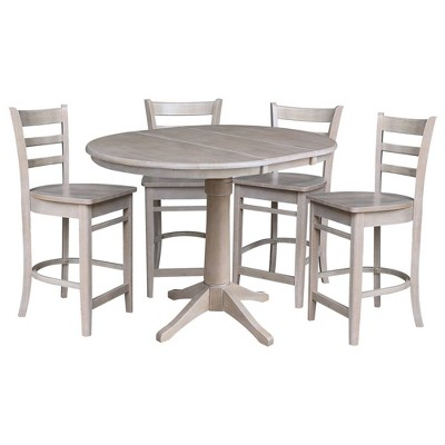 """36"""" Cane Round Extendable Dining Table with 12"""" Drop Leaf and 4 Emily Counter Height Barstools - International Concepts"""