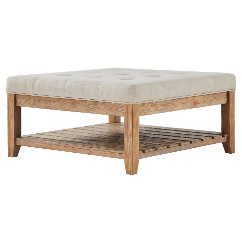 Southgate Natural Dimple Tufted Tapered Cocktail Ottoman - Inspire Q - image 1 of 4