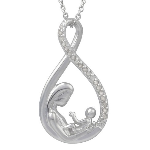 1/5 CT. T.W. Round-Cut Diamond Pave-Set Mother and Child Necklace in Sterling Silver - Silver - image 1 of 2