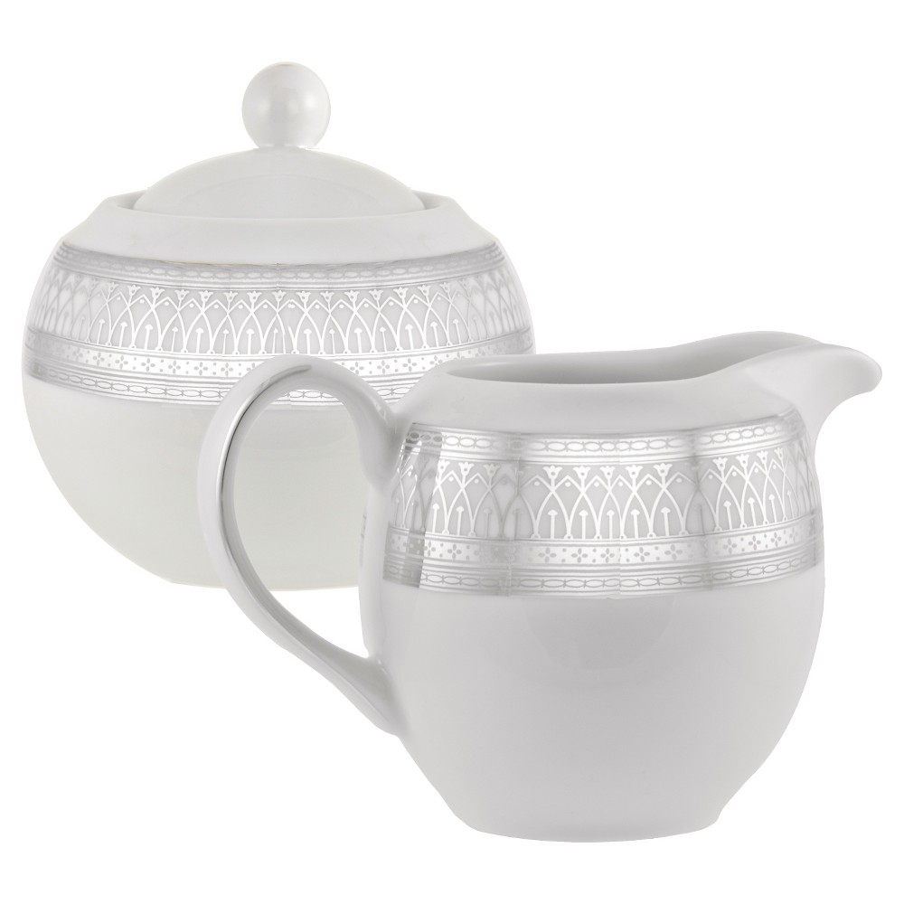Image of 10 Strawberry Street Iriana Silver Creamer and Covered Sugar Set, White