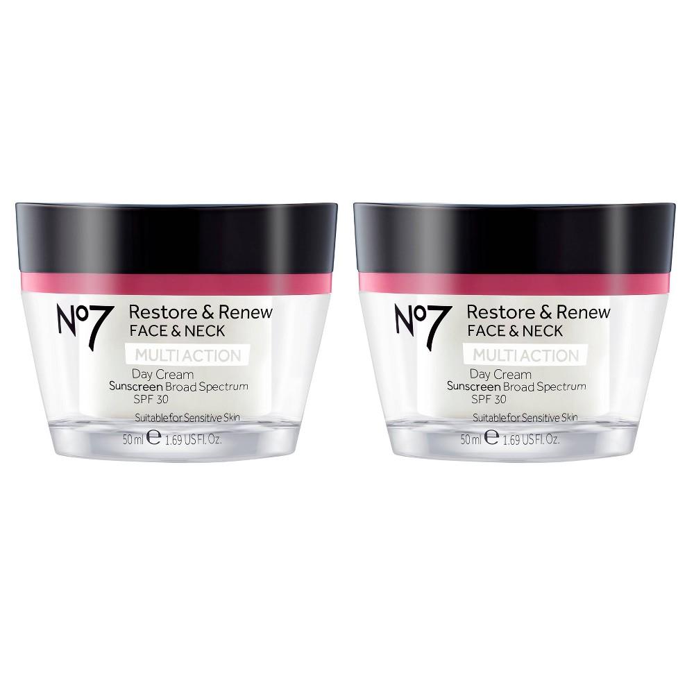No7 Restore & Renew Face & Neck Multi Action Day Cream SPF 30 - 1.69oz - 2ct