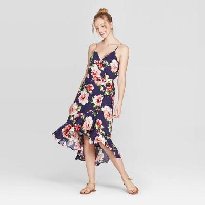 Women's Floral Print Deep V Neck Strappy Button Front High Low Hem Midi Dress   Xhilaration by Neck Strappy Button Front High