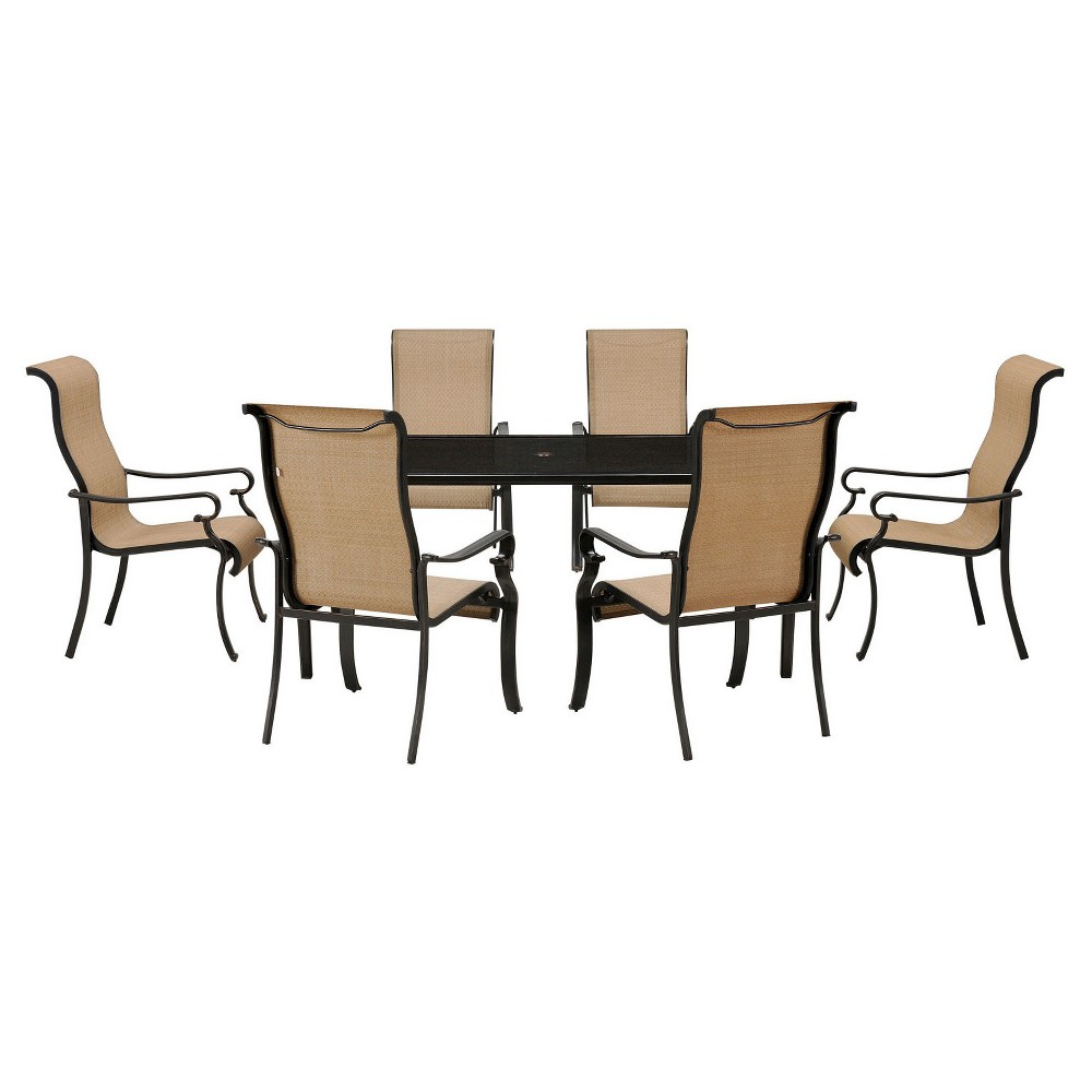 Brigantine 7pc Rectangle Metal Outdoor Dining Set - Brown/Beige - Hanover, Lt Tan