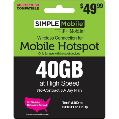 SIMPLE MOBILE Mobile Hotspot 40GB Data 30 Day Plan (EMAIL DELIVERY) - $49.99