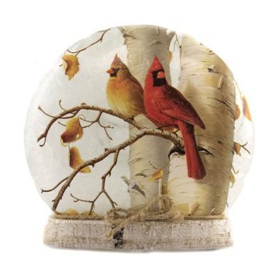"Stony Creek 7.0"" Fall Cardinals Lit Round Orb Autumn  Birds Resin Base  -  Novelty Sculpture Lights"
